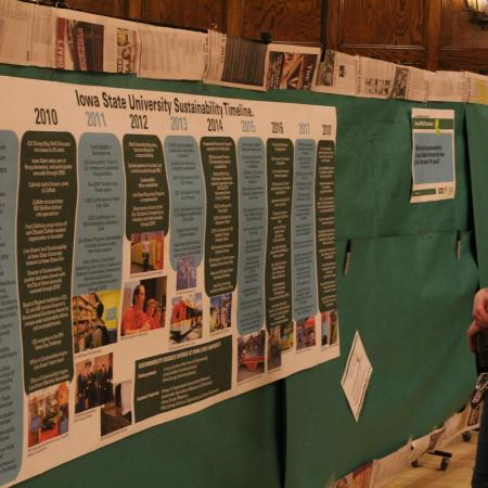 A poster was made of all the sustainable efforts that has happened Iowa State University since the beginning of the Office of Sustainability 10 year ago.