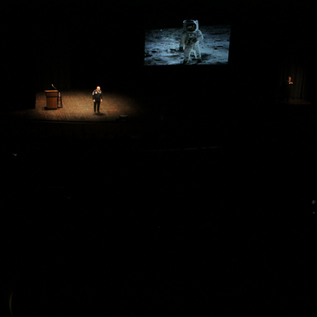 The keynote speaker had such a large audience he spoke at Stephens Auditorium on the Iowa State Campus.