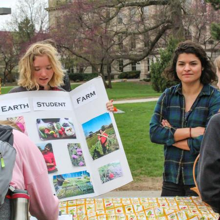 Good Earth Student Farm hosted a table at the Earth Day Event.