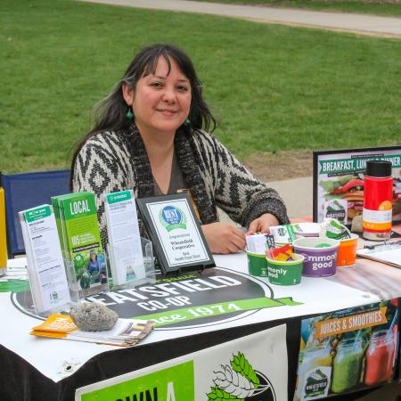 Wheatsfield a grocery coop in Ames hosted a table at the Earth day event.