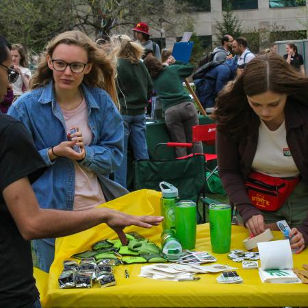 Prizes were handed out for talking with a number of tables at the earth day event.