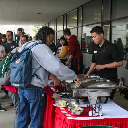 Iowa State Dining offered hot dogs and veggie dogs at the Celebration event.