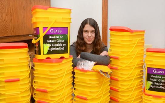 Repurposed Glass Recycling Bins Debut in Residence Halls
